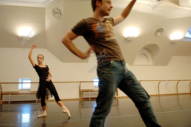"Soloist Ekaterina Shipulina rehearsed her part in the new ballet ""Misericors' to be premiered with the Bolshoi with its British choreographer Christopher Wheeldon in a rehearsal room in the Bolshoi Theatre, Moscow, Russia, January 25, 2007"