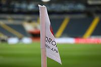 Echfahne in der Commerzbank Arena wirbt für die Corona App<br /> - 27.06.2020: Fussball Bundesliga, Saison 19/20, Spieltag 34, Eintracht Frankfurt vs. SC Paderborn 07, emonline, emspor, Namen v.l.n.r. <br /> <br /> Foto: Marc Schueler/Sportpics.de/Pool <br /> Nur für journalistische Zwecke. Only for editorial use. (DFL/DFB REGULATIONS PROHIBIT ANY USE OF PHOTOGRAPHS as IMAGE SEQUENCES and/or QUASI-VIDEO)