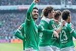 13.04.2019, Weser Stadion, Bremen, GER, 1.FBL, Werder Bremen vs SC Freiburg, <br /> <br /> DFL REGULATIONS PROHIBIT ANY USE OF PHOTOGRAPHS AS IMAGE SEQUENCES AND/OR QUASI-VIDEO.<br /> <br />  im Bild<br /> <br /> 2:0 kopfball Theodor Gebre Selassie (Werder Bremen #23) <br /> <br /> jubel <br /> Max Kruse (Werder Bremen #10) Milot Rashica (Werder Bremen #11) Nuri Sahin (Werder Bremen #17)<br /> Ludwig Augustinsson (Werder Bremen #05)<br /> Claudio Pizarro (Werder Bremen #04)<br /> Foto © nordphoto / Kokenge