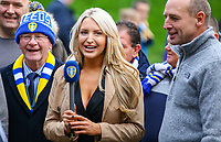 An LUTV presenter prepares to speak to fans outside Elland Road<br /> <br /> Photographer Alex Dodd/CameraSport<br /> <br /> The EFL Sky Bet Championship - Leeds United v Bristol City - Saturday 24th November 2018 - Elland Road - Leeds<br /> <br /> World Copyright &copy; 2018 CameraSport. All rights reserved. 43 Linden Ave. Countesthorpe. Leicester. England. LE8 5PG - Tel: +44 (0) 116 277 4147 - admin@camerasport.com - www.camerasport.com