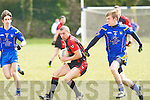 Kenmare's Mark Crowley and Ballymac's Philip Galvin in action in the junior county championship quarter final at Ballymac on Sunday.