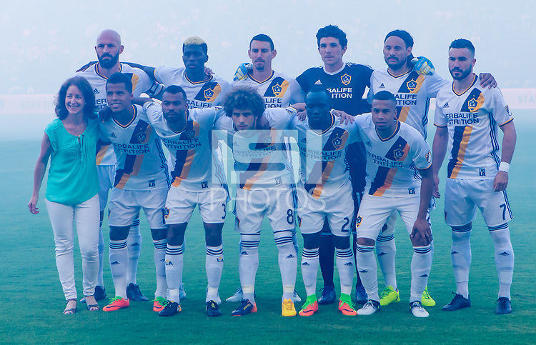 Carson, CA - Saturday July 29, 2017: Los Angeles Galaxy starting eleven during a Major League Soccer (MLS) game between the Los Angeles Galaxy and the Seattle Sounders FC at StubHub Center.