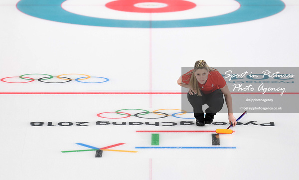 Lauren Gray (GBR). Womens Curling training. Pyeongchang2018 winter Olympics Gangneung curling centre. Gangneung. Republic of Korea. 12/02/2018. ~ MANDATORY CREDIT Garry Bowden/SIPPA - NO UNAUTHORISED USE - +44 7837 394578