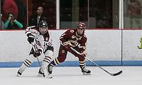 Boston, Massachusetts - February 9, 2016: NCAA Division I, Beanpot Tournament final. Boston College (maroon) defeated Northeastern University (white/black), 7-0, at Walter Brown Arena.