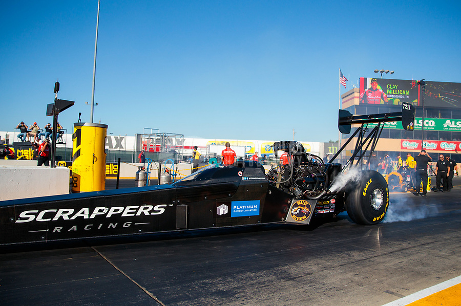 Jul 26, 2019; Sonoma, CA, USA; NHRA top fuel driver Mike Salinas during qualifying for the Sonoma Nationals at Sonoma Raceway. Mandatory Credit: Mark J. Rebilas-USA TODAY Sports