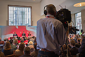 BBC camera operator.  Ed Miliband, Ed Balls, Rachel Reeves.  Labour Party election press conference, RIBA, London.
