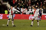 Rayo Vallecano's Raul de Tomas (L) and Alvaro Garcia (R) celebrate goal during La Liga match between Rayo Vallecano and CD Leganes at Vallecas Stadium in Madrid, Spain. February 04, 2019. (ALTERPHOTOS/A. Perez Meca)
