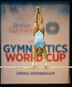 21st March 2018, Arena Birmingham, Birmingham, England; Gymnastics World Cup, day one, womens competition; Margzetta Frazier (USA) on the Uneven Bars during  training