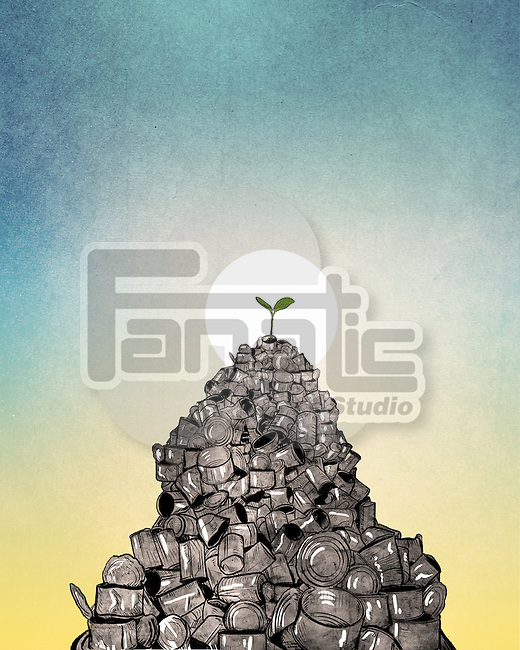 Illustrative image of plant growing from heap of cans against sun representing recycle