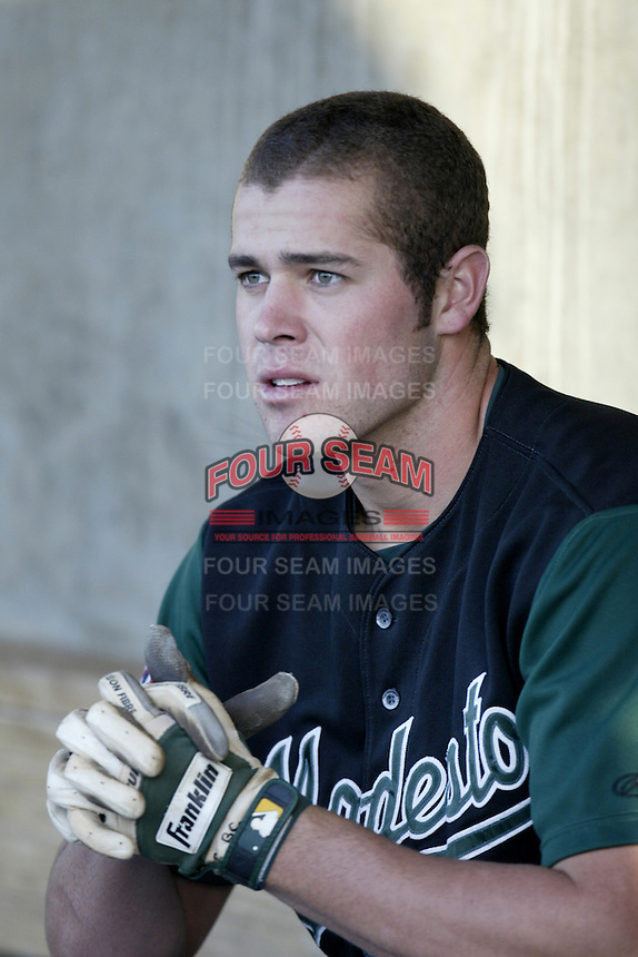 Bobby Crosby of the Modesto A's before a California League 2002 season game against the High Desert Mavericks at Mavericks Stadium, in Adelanto, California. (Larry Goren/Four Seam Images)