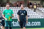04.07.2019, Parkstadion, Zell am Ziller, AUT, TL Werder Bremen - Tag 00<br /> <br /> im Bild / picture shows 1. Training im TL Zillertal am Mittwoch abend<br /> <br /> Jiri Pavlenka (Werder Bremen #01)<br /> Florian Kohfeldt (Trainer SV Werder Bremen)<br /> <br /> Foto © nordphoto / Kokenge