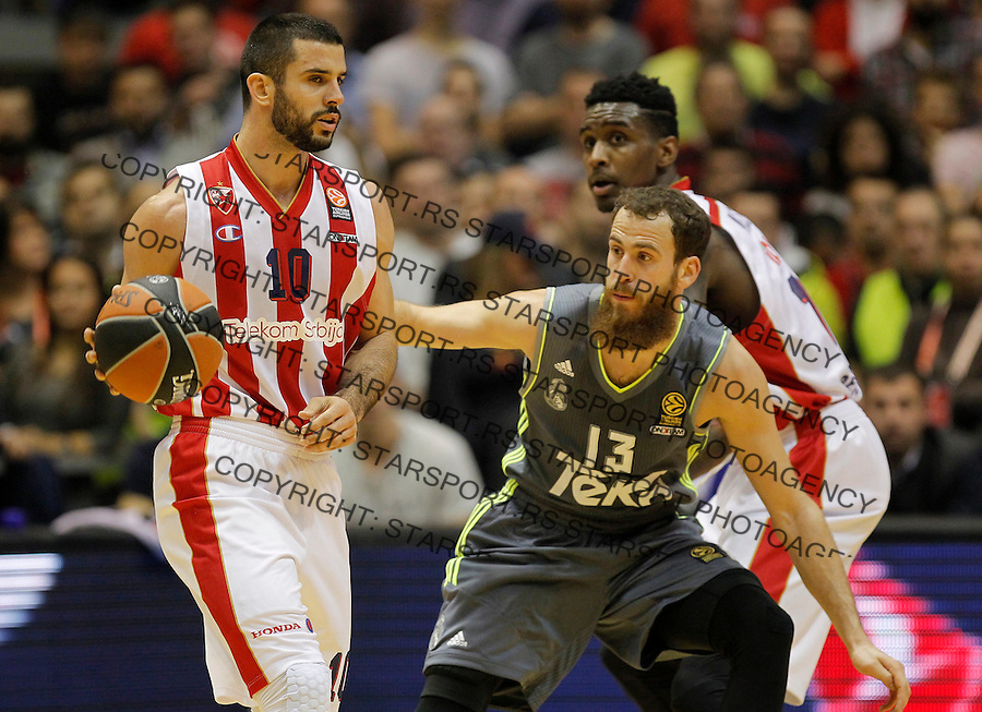 Kosarka Euroleague season 2015-2016<br /> Euroleague <br /> Crvena Zvezda v Real Madrid<br /> Branko Lazic and Sergio Rodriguez<br /> Beograd, 27.11.2015.<br /> foto: Srdjan Stevanovic/Starsportphoto &copy;