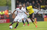 Bolton Wanderers Karl Henry in action with Burton Albion's Lucas Atkins<br /> <br /> Photographer Mick Walker/CameraSport<br /> <br /> The EFL Sky Bet Championship - Burton Albion v Bolton Wanderers - Saturday 28th April 2018 - Pirelli Stadium - Burton upon Trent<br /> <br /> World Copyright &copy; 2018 CameraSport. All rights reserved. 43 Linden Ave. Countesthorpe. Leicester. England. LE8 5PG - Tel: +44 (0) 116 277 4147 - admin@camerasport.com - www.camerasport.com