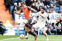 Real Madrid's Daniel Carvajal (r) and Real Sociedad's Sergio Canales during La Liga match.January 31,2015. (ALTERPHOTOS/Acero) /NortePhoto<br />