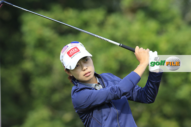 Sun Young Yoo (KOR) tees off the par3 5th tee during Friday's Round 2 of the LPGA 2015 Evian Championship, held at the Evian Resort Golf Club, Evian les Bains, France. 11th September 2015.<br /> Picture Eoin Clarke | Golffile