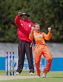 ICC World T20 Qualifier - GROUP B MATCH - NETHERLANDS V AFGHANISTAN at Grange CC, Edinburgh - Netherlands Roelof van der Merwe celebrates a wicket as Umpire David Odhiambo raises the finger — credit @ICC/Donald MacLeod - 09.07.15 - 07702 319 738 -clanmacleod@btinternet.com - www.donald-macleod.com