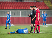 27th March 2018, Karadjorde Stadium, Novi Sad, Serbia; Under 21 International Football Friendly, Serbia U21 versus Italy U21; Midfielder Luca Valzania of Italy goes down after a heavy tackle