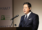 December 1, 2016, Tokyo, Japan - Japanese developer Sogo Bussan president Shinya Ozawa announces Sogo Bussan and Hyatt hotels will open Hyatt Place brand hotel in Urayasu near Tokyo Disneyland in 2019 at a press conference in Tokyo on Thursday, December 1, 2016. Hyatt Place Tokyo Bay is Japan's first Hyatt Place brand hotel which offers casual and selected services to customers.  (Photo by Yoshio Tsunoda/AFLO) LWX -ytd-