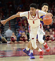 NWA Democrat-Gazette/ANDY SHUPE<br /> Arkansas guard Isaiah Joe (1) has the ball back-tipped away by LSU guard Skylar Mays Friday, Jan. 11, 2019, during the second half of play in Bud Walton Arena in Fayetteville. Visit nwadg.com/photos to see more photographs from the game.