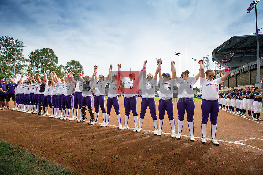 The University of Washington softball team plays Cal on senior day on Saturday May 11, 2013 (Photo by Scott Eklund /Red Box Pictures)