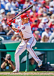 14 April 2018: Washington Nationals shortstop Trea Turner at bat against the Colorado Rockies at Nationals Park in Washington, DC. The Nationals rallied to defeat the Rockies 6-2 in the 3rd game of their 4-game series. Mandatory Credit: Ed Wolfstein Photo *** RAW (NEF) Image File Available ***