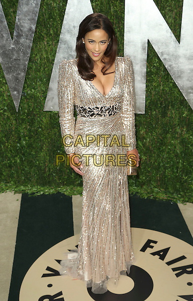 Paula Patton.2013 Vanity Fair Oscar Party following the 85th Academy Awards held at the Sunset Tower Hotel, West Hollywood, California, USA..February 24th, 2013.oscars full length silver gold metallic dress plunging neckline cleavage belt.CAP/ADM/SLP/DOW.©Dowling/StarlitePics/AdMedia/Capital Pictures