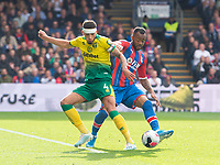 Crystal Palace Jordan Ayew and Norwich City Ben Godfrey during the Premier League match between Crystal Palace and Norwich City at Selhurst Park, London, England on 28 September 2019. Photo by Andrew Aleksiejczuk / PRiME Media Images.