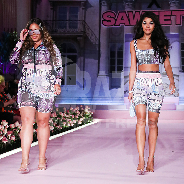 MANHATTAN, NEW YORK CITY, NEW YORK, USA - SEPTEMBER 08: Models walks the runway at the PrettyLittleThing x Saweetie runway show during New York Fashion Week: The Shows held at The Plaza Hotel on September 8, 2019 in Manhattan, New York City, New York, United States.