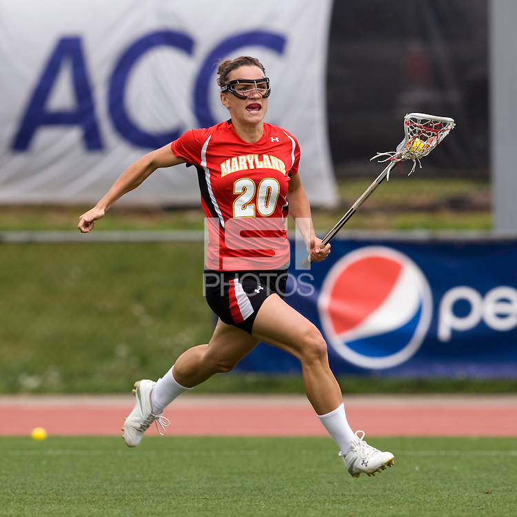 Karissa Taylor (20) of Maryland carries the ball upfield during the ACC women's lacrosse tournament finals in College Park, MD.  Maryland defeated North Carolina, 10-5.