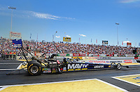 Jun. 2, 2012; Englishtown, NJ, USA: NHRA top fuel dragster driver Brandon Bernstein during qualifying for the Supernationals at Raceway Park. Mandatory Credit: Mark J. Rebilas-