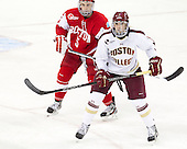 Matt Grzelcyk (BU - 5), Brendan Silk (BC - 9) - The Boston College Eagles defeated the visiting Boston University Terriers 5-2 on Saturday, December 1, 2012, at Kelley Rink in Conte Forum in Chestnut Hill, Massachusetts.
