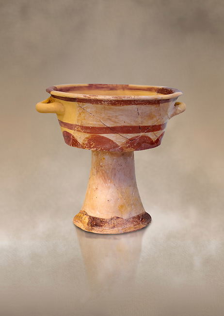 The Minoan domestic vessels, a bowl on stand, Early Protopalatial period, Knossos,  2100-1900 BC; Heraklion Archaeological  Museum.