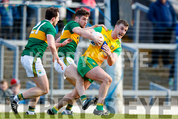 Paul Geaney Kerry in action against Leo McLoone Donegal in the Allianz Football League Division 1 Round 1 match between Kerry and Donegal at Fitzgerald Stadium in Killarney, Co. Kerry.