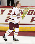 Erin Kickham (BC - 3) -  The Boston College Eagles defeated the visiting Boston University Terriers 5-0 on BC's senior night on Thursday, February 19, 2015, at Kelley Rink in Conte Forum in Chestnut Hill, Massachusetts.