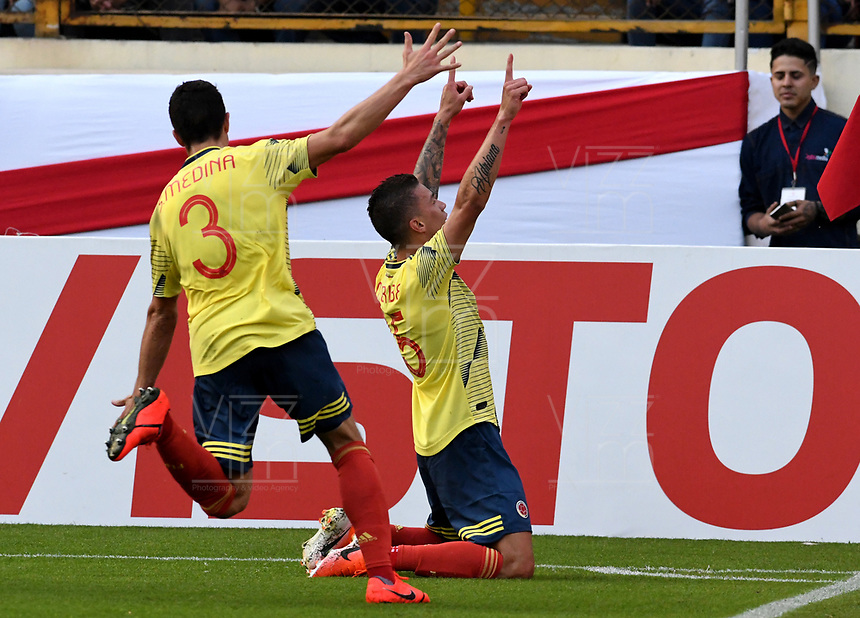 LIMA,PERÚ,09-06-2019:Mateus Uribe jugador de Colombia celebra después de anotar un gol contra la selección del Perú durante   partido amistoso de preparación para la Copa América de Brasil 2019 jugado en el estadio Monumental de Lima la ciudad de Lima./Colombia's Mateus Uribe celebrates after scoring a goal agisnt Peru during friendly match in preparation for the 2019 Copa América of Brazil played at Lima's Monumental Stadium in Lima. Photo: VizzorImage / Cristian Alvarez / FCF