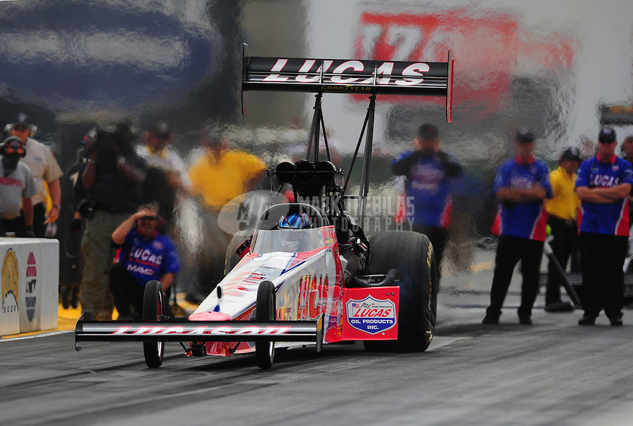 Jul. 31, 2011; Sonoma, CA, USA; NHRA top fuel dragster driver Shawn Langdon during the Fram Autolite Nationals at Infineon Raceway. Mandatory Credit: Mark J. Rebilas-