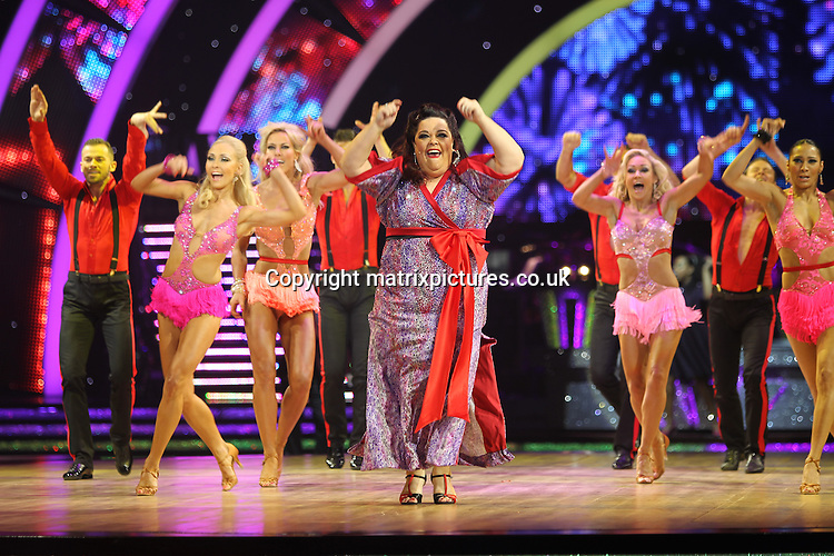 EXCLUSIVE ALL ROUND PICTURE:  TREVOR ADAMS / MATRIXPICTURES.CO.UK<br /> PLEASE CREDIT ALL USES<br /> <br /> WORLD RIGHTS<br /> <br /> British television presenter Lisa Riley is pictured taking part in the first night of the 2014 Strictly Come Dancing Live Tour held at Wembley Arena in London, England.<br /> <br /> Joining the celebrity contestant line-up are Craig Revel Horwood, Len Goodman and Bruno Tonioli, as the tour&rsquo;s formidable judges.<br /> <br /> JANUARY 20th 2014<br /> <br /> REF: MTX 14301