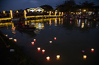 Hoi An Lantern Festival - The monthly Hoi An lantern festival falls on the night of the full moon, when bright lights are swapped for silk lanterns and candles.  Lighting a small lantern and sending it down the river is a popular custom here.  In the evenings hundreds of brightly coloured lanterns can be seen floating along the river.  To avoid the crowds in town, many prefer to boat a a sampan boat to launch their lantern on the river and avoid the mob entirely.  If you're not in town for the lantern festival,  night-time Hoi An is always lit up with silk lanterns, one of the towns specialties.  Lantern vendors, sometimes combined with sampan boats will combine a lantern-sampan trip for you for around USD$5 lasting around 20 minutes.