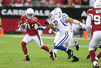 Sept. 27, 2009; Glendale, AZ, USA; Arizona Cardinals safety (21) Antrel Rolle runs with the ball after intercepting an Indianapolis Colts pass in the first quarter at University of Phoenix Stadium. Mandatory Credit: Mark J. Rebilas-