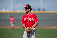 Cincinnati Reds second baseman Shane Mardirosian (41) during a Minor League Spring Training game against the Los Angeles Angels at the Cincinnati Reds Training Complex on March 15, 2018 in Goodyear, Arizona. (Zachary Lucy/Four Seam Images)