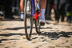 The cobbles await to catch out the riders during Stage 9 of the 2018 Tour de France running 156.5km from Arras Citadelle to Roubaix, France. 15th July 2018. <br /> Picture: ASO/Pauline Ballet | Cyclefile<br /> All photos usage must carry mandatory copyright credit (&copy; Cyclefile | ASO/Pauline Ballet)