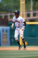 Bradenton Marauders shortstop Alfredo Reyes (13) leads off second base during a game against the Charlotte Stone Crabs on April 9, 2017 at LECOM Park in Bradenton, Florida.  Bradenton defeated Charlotte 5-0.  (Mike Janes/Four Seam Images)