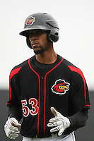 Rochester Red Wings designated hitter Byron Buxton (53) heads back to the dugout against the Scranton Wilkes-Barre Railriders on May 1, 2016 at Frontier Field in Rochester, New York. Red Wings won 1-0.  (Christopher Cecere/Four Seam Images)