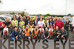 Kerry Mayor Bobby O'Connell with all the motor cycle enthusiasts who took part in the Honda 50 rally in aid of Castleisland Day Care centre in Castleisland on Sunday morning..