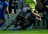 4th January 2020; RDS Arena, Dublin, Leinster, Ireland; Guinness Pro 14 Rugby, Leinster versus Connacht; Dave Kearney of Leinster gets past Conor Fitzgerald of Connacht  to score the second try of the game 12 - 0  - Editorial Use