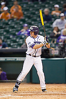 Dylan Delso #15 of the Texas Christian Horned Frogs at bat against the Sam Houston State Bearkats at Minute Maid Park on February 28, 2014 in Houston, Texas.  The Bearkats defeated the Horned Frogs 9-4.  (Brian Westerholt/Four Seam Images)