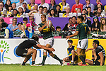 Jordan Bunce of New Zealand (L) tries to put a tackle on Muller du Plessis of South Africa (R) during the HSBC Hong Kong Sevens 2018 Bronze Medal Final match between South Africa and New Zealand on 08 April 2018 in Hong Kong, Hong Kong. Photo by Marcio Rodrigo Machado / Power Sport Images