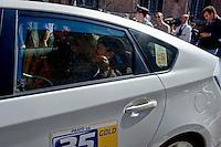 Roma 2 Ottobre 2013<br /> Mara Carfagna deputata del  Partito della Libert&agrave;, esce dal senato e si allontana in taxi<br /> Mara Carfagna deputy of the Party of Freedom, leaves by the Senate and goes away by taxi