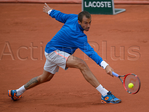 23.05.2016. Stade Roland Garros, Paris, France. Roland Garros French Open Tennis Day Two.  Lukas Rosol (CZE) in action during his game with Stan Wawrinka (3) (SUI).