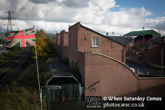 Glentoran 2 Cliftonville 1, 22/10/2016. The Oval, NIFL Premiership. A Union flag in home team colours next to the away fans' entrance at The Oval, Belfast, pictured before Glentoran hosted city-rivals Cliftonville in an NIFL Premiership match. Glentoran, formed in 1892, have been based at The Oval since their formation and are historically one of Northern Ireland's 'big two' football clubs. They had an unprecendentally bad start to the 2016-17 league campaign, but came from behind to win this fixture 2-1, watched by a crowd of 1872. Photo by Colin McPherson.